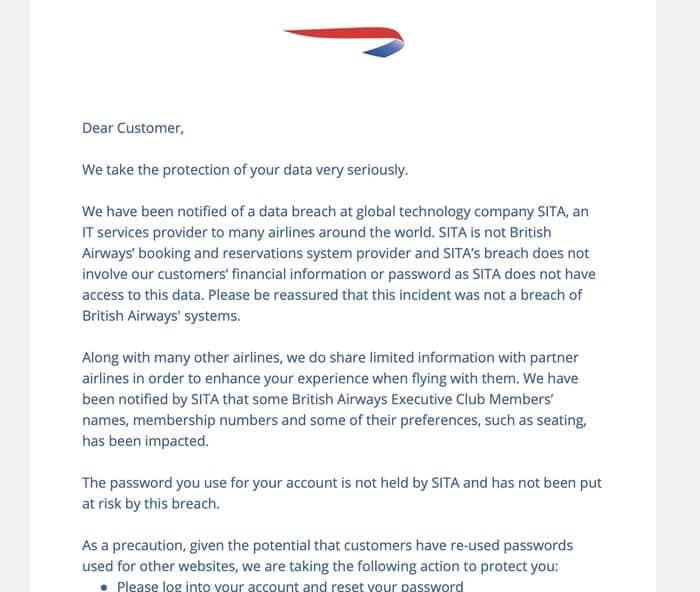 Ba email sita breach
