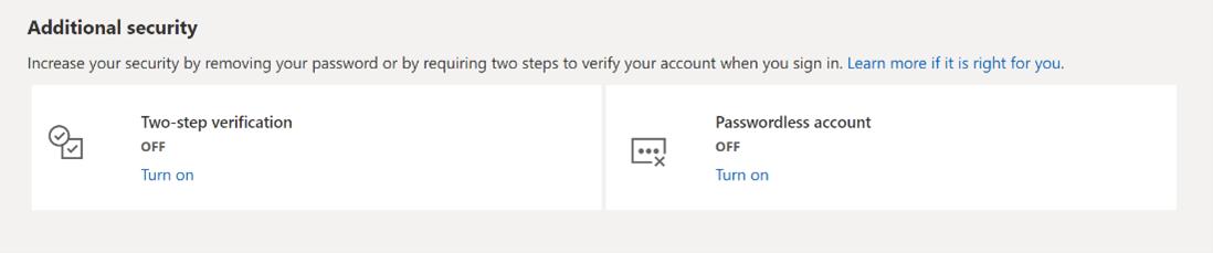 Passwordless account toggle